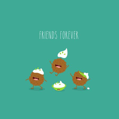 falafel sauce cute friends forever. Vector illustration.