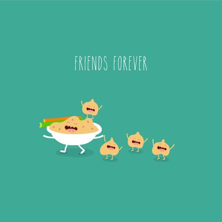 hummus celery funny friends forever. Vector illustration.