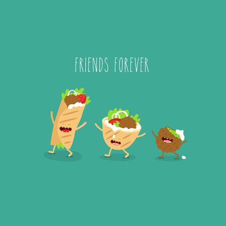 falafel pita donner. Funny cute image. Vector illustration.