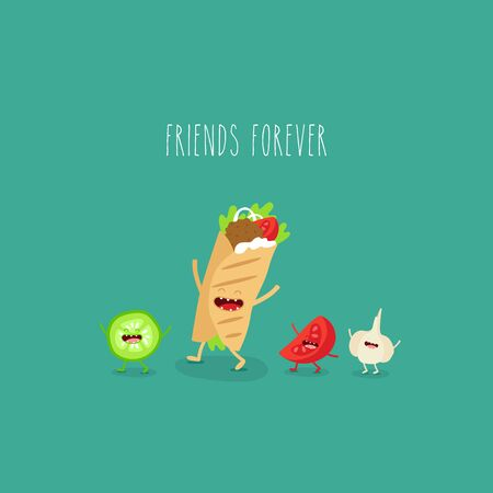 doner tomato garlic friends forever. Vector illustration. Çizim