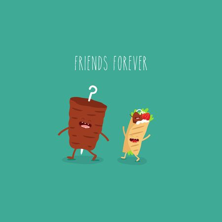 meat on a spit doner friends forever. Vector illustration.
