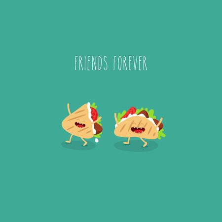 tacos friends forever. Funny image. Vector illustration. Çizim