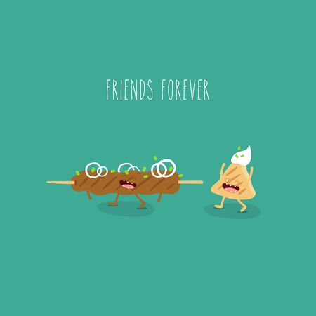 kebab flatbread funny friends forever. Vector illustration.
