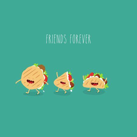 pita taco funny cute friends forever. Vector illustration.