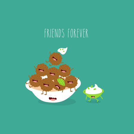 plate with falafel sauce friends forever. Vector illustration.