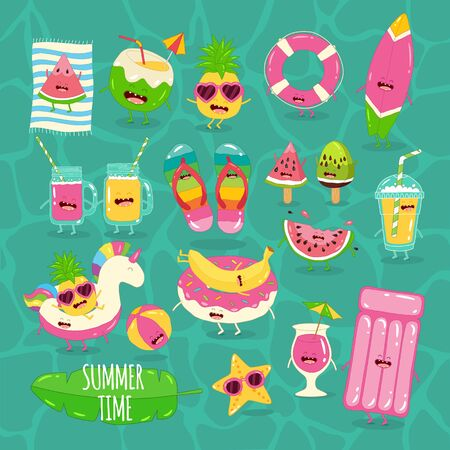beach funny set. Summer time. Vector illustration.
