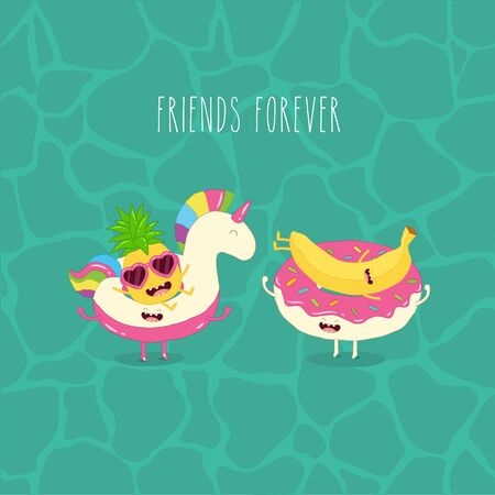 pineapple and banana on rubber rings. Summer time. Vector illustration.