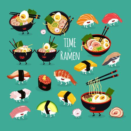 ramen sushi set. Time for ramen. Vector illustration.