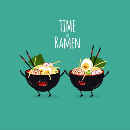 ramen bowls. Time for ramen. Vector illustration.