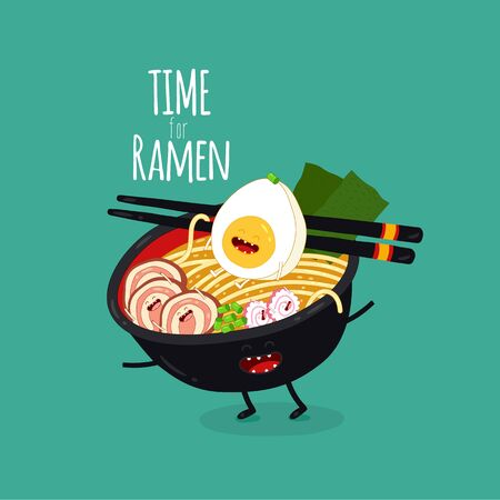 ramen funny bowl. Time for ramen. Vector illustration. Çizim