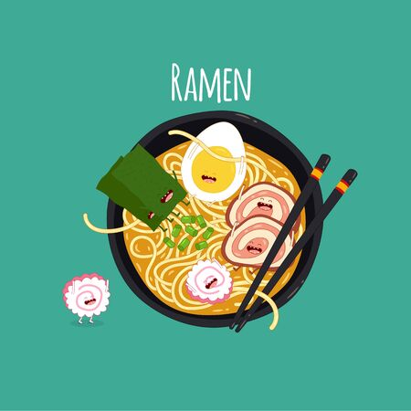 ramen top view. Time for ramen. Vector illustration.