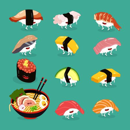 sushi ramen funny cute set. Vector illustration.