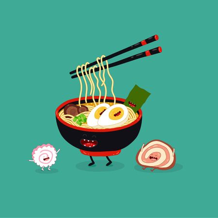 ramen chopsticks cute funny image. Vector illustration. Çizim