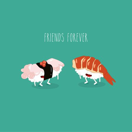 sushi shrimp octopus friends forever. Vector illustration Çizim