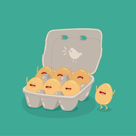 eggs carton box funny image. Vector illustration Çizim