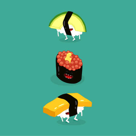 sushi avocado egg funny image. Vector illustration. Çizim