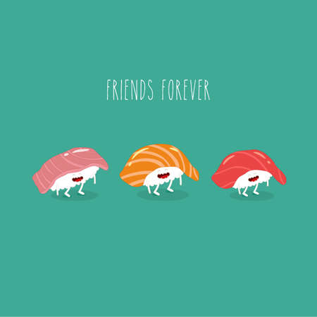 sushi friends forever funny image. Vector illustration.