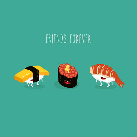 sushi omelet caviar shrimp friends forever funny image. Vector illustration. Çizim