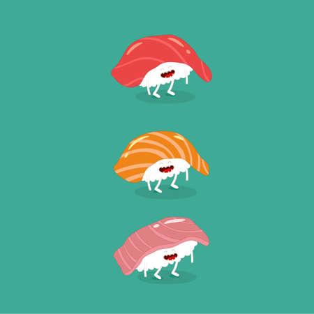 sushi salmon tuna seabass funny image. Vector illustration. Illusztráció