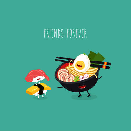ramen tuna omlette sushi friends forever. Vector illustration. Çizim