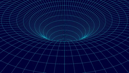Wireframe vector tunnel. 3d wormhole dark illustration. Çizim
