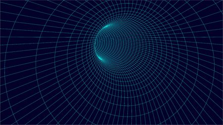 3d wireframe tunnel. Wormhole vector illustration. Çizim