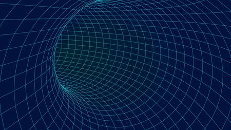Wireframe vector tunnel. 3d wormhole.