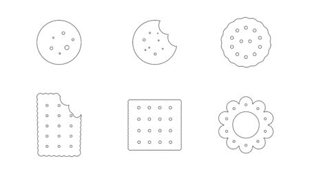 Set of black cookie icons on white background. Vector illustration.