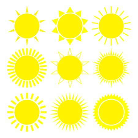 Set of suns icons. Vector illustration with white background.