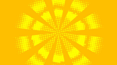 Bright yellow and orange pop art retro background with halftone in comic style. Gradient pop-art template. Dots pattern design. Vector illustration.  イラスト・ベクター素材