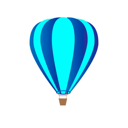 Blue hot air balloon isolated on white background. Vector illustration. Illustration