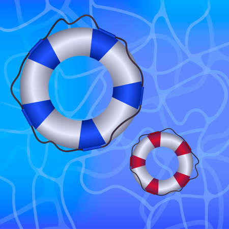 Blue and white, red and white life bouys with rope on blue water. Vector illustration.