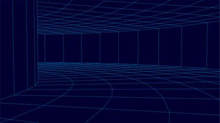 Blue dark wireframe vector tunnel. 3d wormhole.