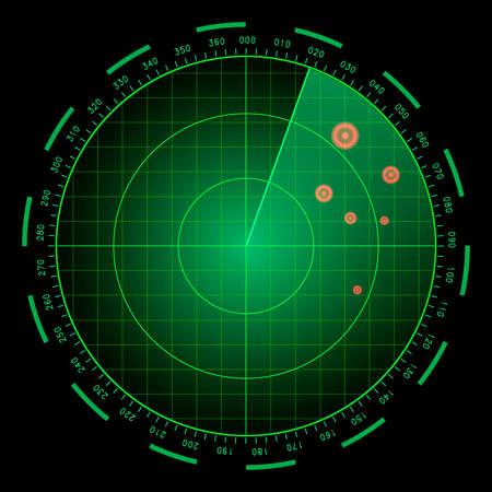 Digital blue realistic radar screen. HUD vector illustration. Vecteurs