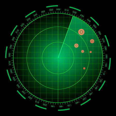 Digital blue realistic radar screen. HUD vector illustration. Векторная Иллюстрация