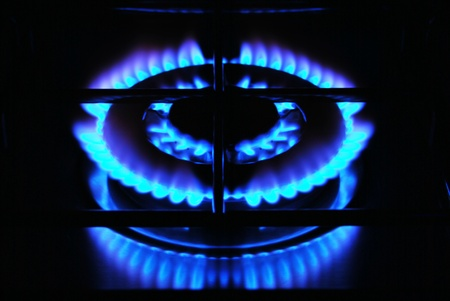 Blue flame of gas over black background Stock Photo - 11038767