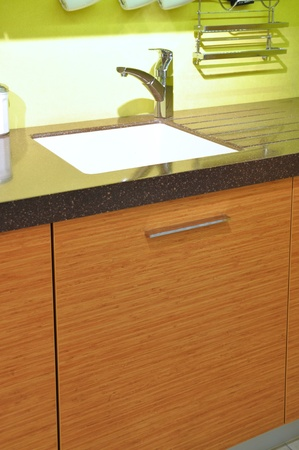 Close-up of a sink in a modern kitchen photo