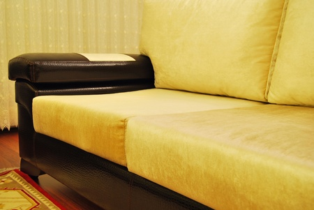 Modern, stylish crocodile skinned and velvet fabric seat photo
