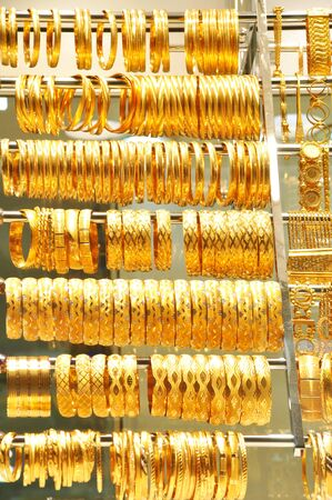 Necklaces and bracelets at Istanbul Gold Souq. photo