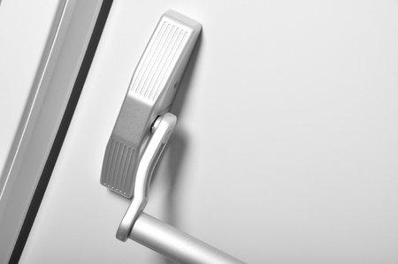 The details of the emergency exit door handle  photo