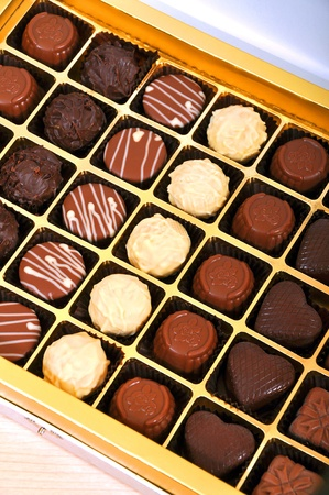 Chocolate candies in a box photo