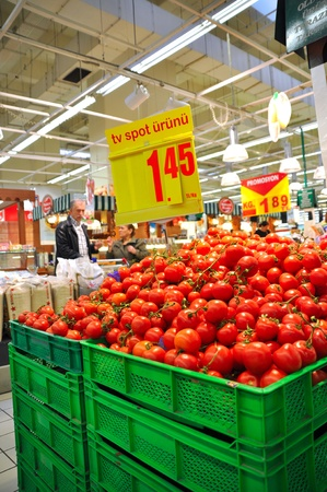 Istanbul Maltepe Carrefour has opened a new branch. Greengrocer section Stock Photo - 11390260