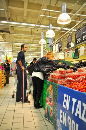 carrefour market: Istanbul Maltepe Carrefour has opened a new branch. Greengrocer section Editorial