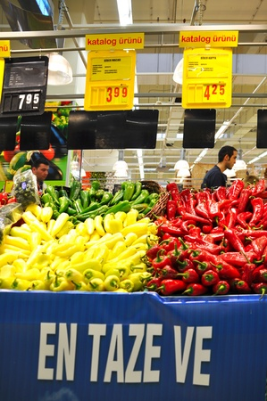 Istanbul Maltepe Carrefour has opened a new branch. Greengrocer section Editorial