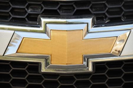 Close-up Chevrolet logo. Chrome metal