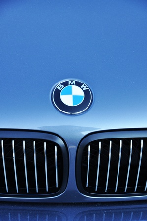 Close-up BMW logo. Chrome metal Sajtókép