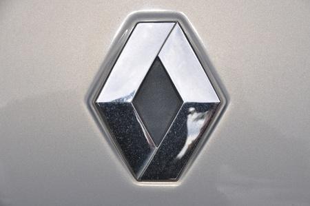 Close-up Renault logo. Chrome metal