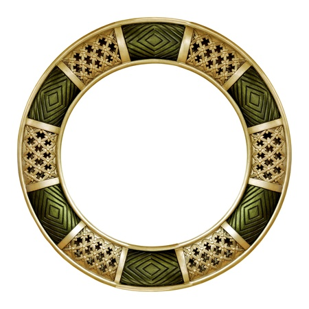 Different design, green and silver round frame photo