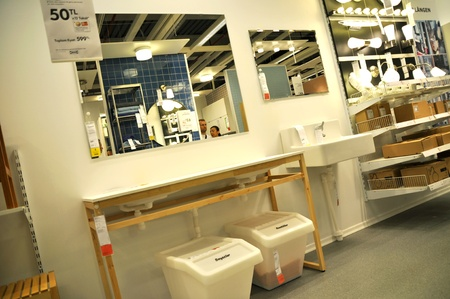 Ikea, Turkey Istanbul, home improvement store, people who shop, bathroom section Stock Photo - 11816841