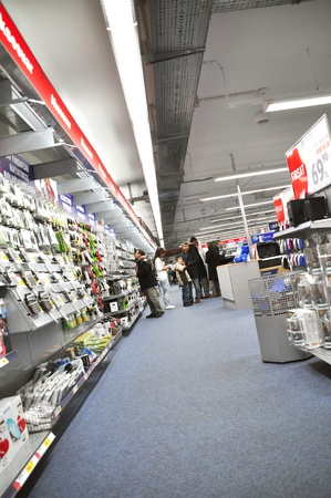 Electro World opened in 2009 istanbul Kartal, the service continues. People who shop Stock Photo - 11816851